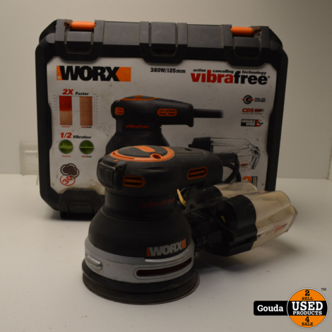 Worx wx655 Vibrafree Excentrische schuurmachine in koffer met stofvanger