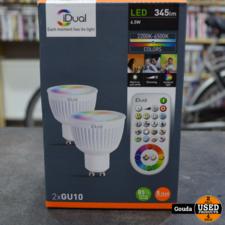 iDual LED lamp dimbaar GU10 2-stuks met afstandsbediening NIEUW IN DOOS