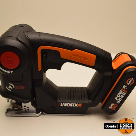 Worx-accumultizaag Axis 20 V WX550.9 met 1 accu en oplader in NIEUW staat
