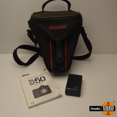 Nikon D50 Camera met Nikon Nikkor AF-DX 18-55 1:3.5-5.6 G  met 1 accu en oplader in nette fototas