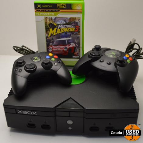 Xbox classic met 2 controllers ab en kabels en game Midtown madness 3