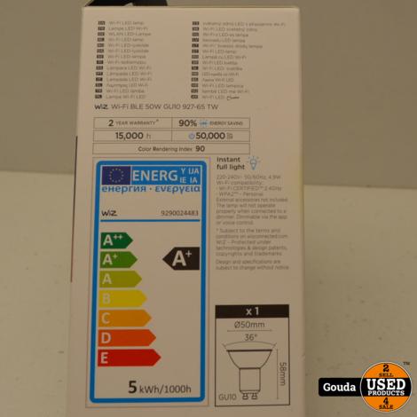 WIZ LED lamp GU10 Warm White to Daylight Slimme LED verlichting