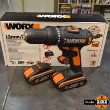 Worx WX371.3 met 2 accus en lader in doos
