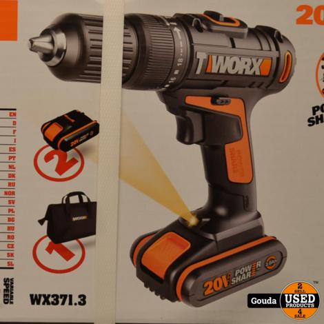 Worx WX371.3 Accu Klopboormachine 20 V. met 2 Accu's en oplader NIEUW in doos