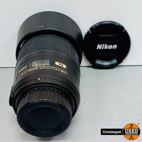 Nikon AF-S 60mm f/2.8G ED Micro   NETTE STAAT!   incl. Zonnekap en lensdoppen