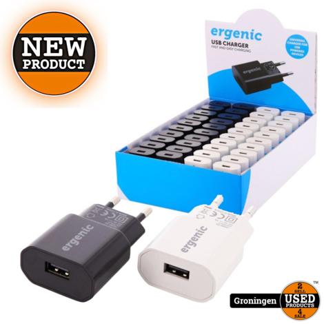 Ergenic AC Adapter USB 1A wit/zwart | NIEUW!
