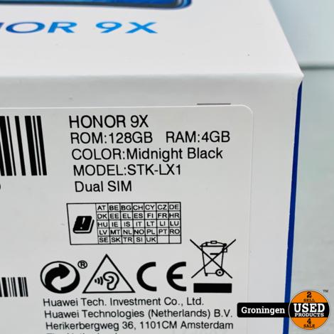 Honor 9X 128GB Midnight Black | NIEUW/GESEALD IN DOOS | incl. nota (10-02-2020)
