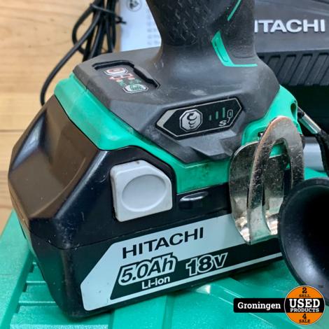 Hitachi DS18DBL2 boor-schroefmachine + WR18DBDL2 slagmoersleutel + 2x 18v 5.0Ah 90Wh accu, 2x Systainer, boekjes en lader