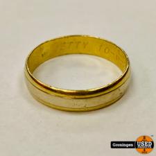 14krt gouden ring | wit en geelgoud | 4,99 gram | Ø 22mm