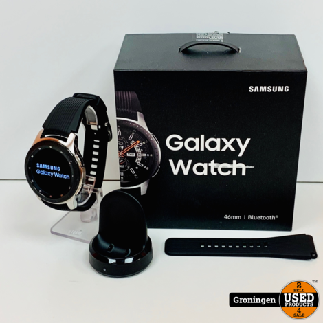 Samsung Galaxy Watch 46mm SM-R800 Silver   NIEUWSTAAT! COMPLEET IN DOOS   nota (11-03-2020)