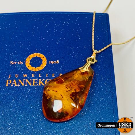 Gouden collier 14 karaat 64cm | 585/1000 | met hanger (Barnsteen/Amber) 4,5cm x 2,0cm