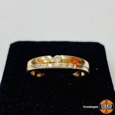 Gouden ring 14 karaat Bi-color Wit & Geelgoud Ø17mm 6 briljantjes | 585/1000 | 2,63 gram