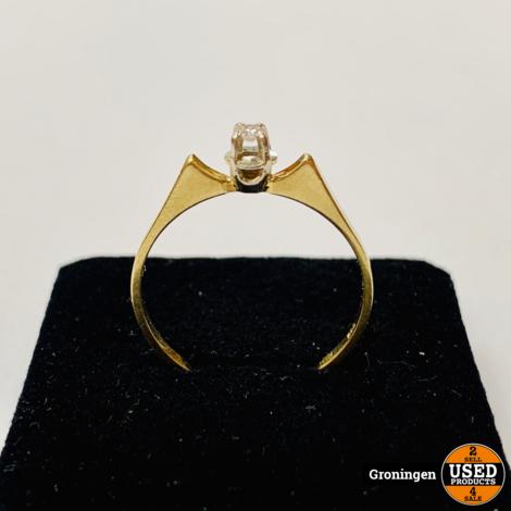 Gouden ring 14 karaat Bi-color Wit & Geelgoud Ø17mm met diamant | 585/1000 | 1,41 gram