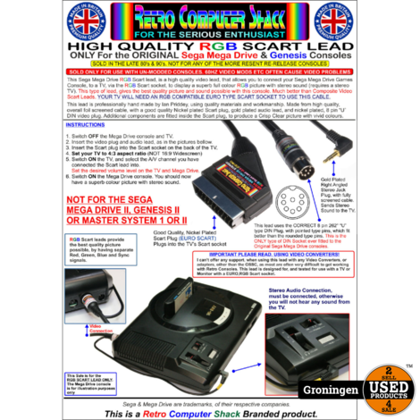 Sega Mega Drive High Quality RGB Scart Lead (CSYNC) | NIEUW