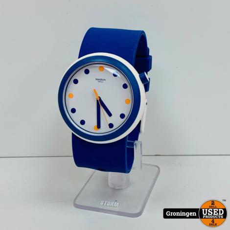 Swatch Originals POPINESS horloge Ø45mm blauw/wit | SR396SW PNW103