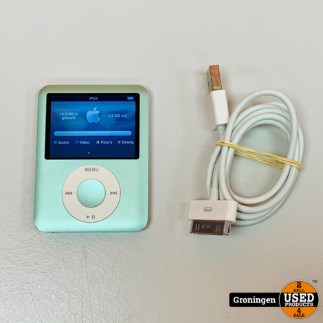 Apple iPod Nano V3 8GB Groen MB253ZD/A | incl. laad/data-kabel