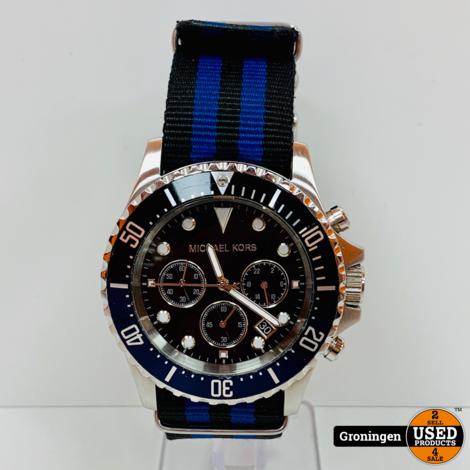 Michael Kors MK8398 Everest horloge Ø45mm | Canvas band | Blauw/Zwart