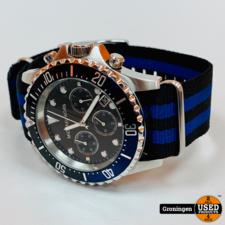 Michael Kors Michael Kors MK8398 Everest horloge Ø45mm | Canvas band | Blauw/Zwart