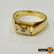 Gouden ring Tri-Color Wit-, Geel en Rose-goud 14 karaat met briljant Ø20mm | 8mm | 585/1000 | 4,55 gram