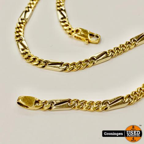 Gouden ketting Valkenoog 14 karaat Bi-Color Wit- en Geelgoud 51,5cm | 585/1000 | 26,41 gram