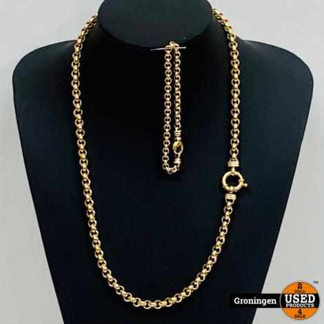 Gouden collier 14 karaat Rolo schakel met sierslot 14 karaat 61cm + armband 19cm   585/1000   47,16 gram