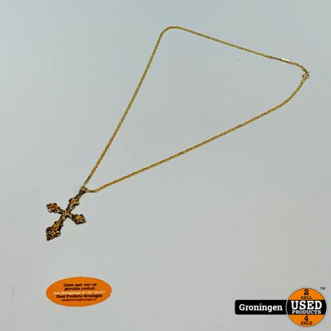 8krt gouden ketting 50cm met hanger Kruis 4,55 x 3,0 cm   333/1000   4,76 gram