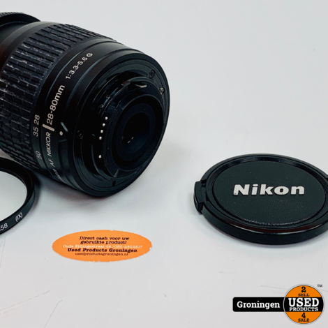 Nikon AF Nikkor 28-80mm 1:3.3-5.6 G objectief | incl. HAMA UV 390 (0-Haze) M58 filter en lensdop