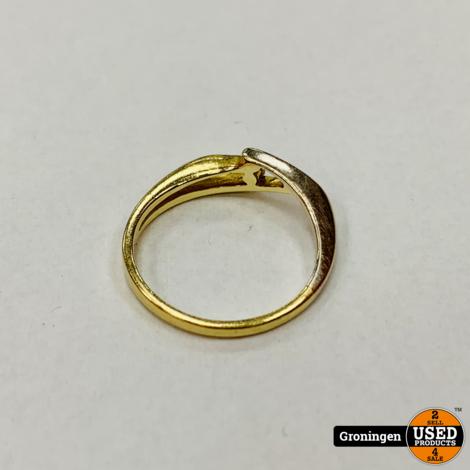 Gouden ring 14 karaat Bi-color Wit- en Geelgoud | 585/1000 | 1,77 gram