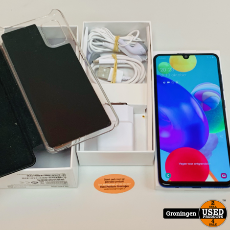 Samsung Galaxy A41 64GB Prism Crush Blue | Beschadigd | Android 10 | COMPLEET IN DOOS | incl. FlipCover