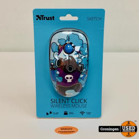 Trust 23335 Sketch Silent Click Draadloze Muis - Blauw   NIEUW