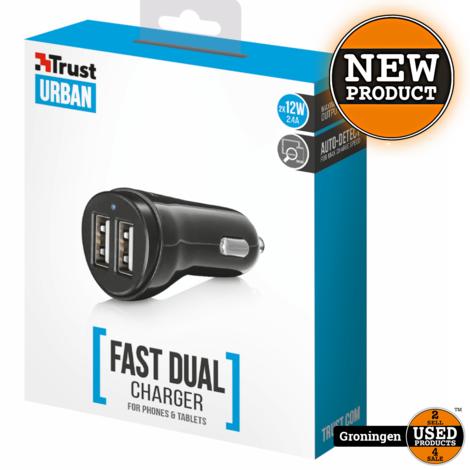 Trust 21713 2x12W Fast Dual USB Autolader voor smartphones en tablets | NIEUW
