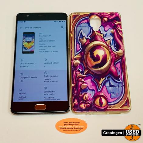 OnePlus 3T 64GB (6GB RAM) Gunmetal Dual-SIM Android 9.0 | scherm beschadigd | incl. Cover