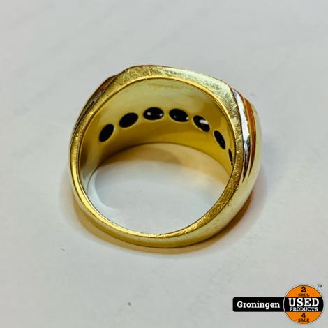 Gouden ring 10 karaat gezet met Zirkonia's Ø21mm | 417/1000 | 12,68 gram