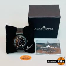 Jacques Lemans Jacques Lemans 64451/80X Chronograaf horloge ⌀44mm NIEUWSTAAT! incl. doos en boekjes