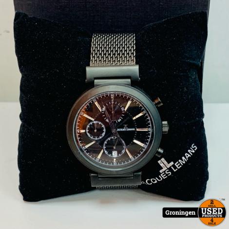 Jacques Lemans 64451/80X Chronograaf horloge ⌀44mm NIEUWSTAAT! incl. doos en boekjes