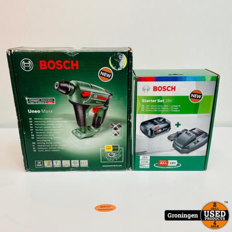 Bosch Uneo Maxx 18V accuboorhamer SDS + 2.5Ah Li-Ion accu en snellader | NIEUW!