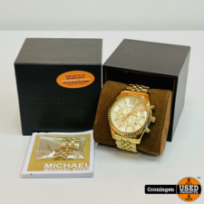 Michael Kors Michael Kors MK8281 Lexington horloge Ø45mm Goudkleurig   COMPLEET IN DOOS