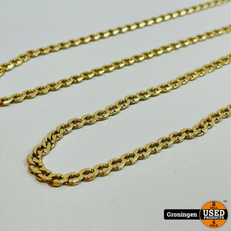 Gouden ketting 14 karaat 56cm platte Gourmet-schakel   16,71gr   585/1000