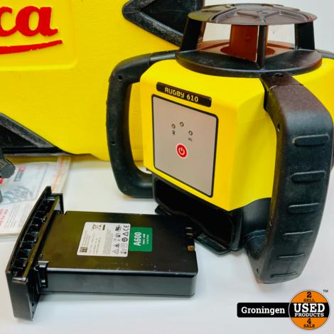 Leica Rugby 610 Zelfnivellerende Roterende Laser   incl. Rod Eye 120, Baakklem, Li-ion accu, lader en koffer