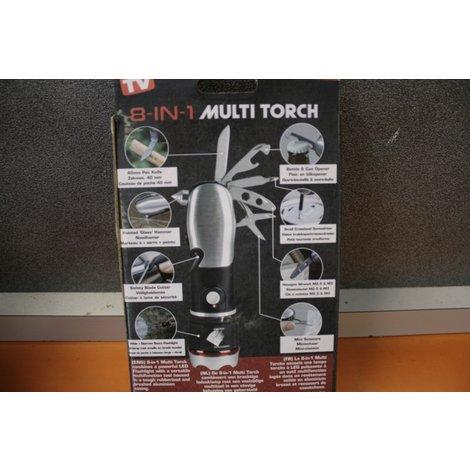8 in 1 multi torch nieuw in doos zaklamp - bieropener - mes