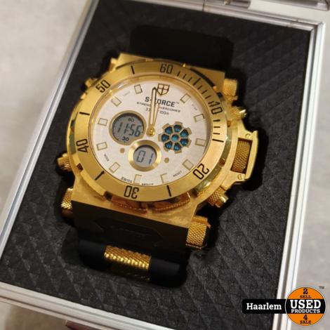 S-Force Hyperion D1905 Horloge Goudkleurig in doos in prima staat