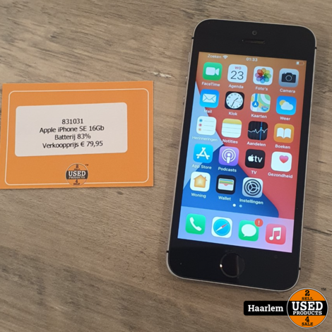 Apple iPhone SE 16Gb Batterij 83% - in prima staat exclusief oplader