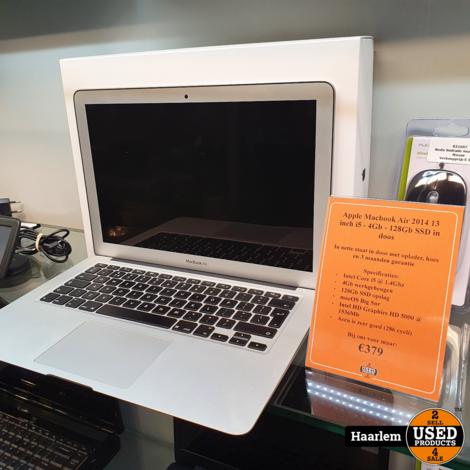 Apple Macbook Air 2014 13 inch i5 - 4Gb - 128Gb SSD in doos