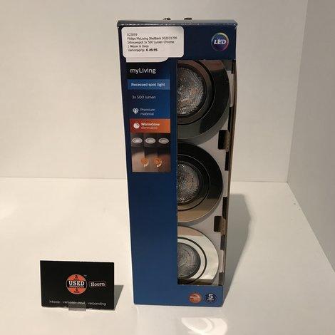 Philips MyLiving Shellbark 5020317P0 Inbouwspot 3x 500 Lumen Chrome | Nieuw in Doos