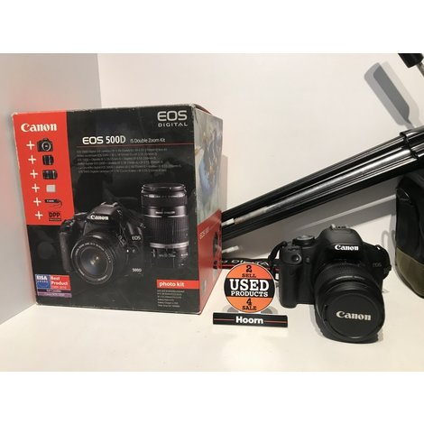 Canon EOS 500D Spiegelreflex Camera incl. EF-S 18-55mm IS en EF-S 55-250mm IS Compleet in Doos incl. Tas en Statief in Nette Staat