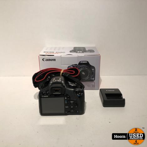 Canon EOS 450D Spiegelreflexcamera + EF-S 18-55 IS Lens Compleet in Doos incl Accu en Lader