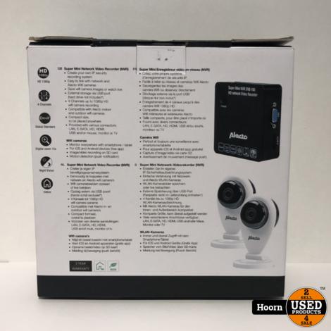 Alecto DVB-100 Set met Netwerk Video Recorder (NVR) en 2 WIFI Camera's met App Nieuw in Doos