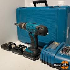 Makita DDF453SFE Boor-/Schroefmachine incl. 3x 18V 1.3Ah Accu's en Lader in Koffer in Gebruikte Staat