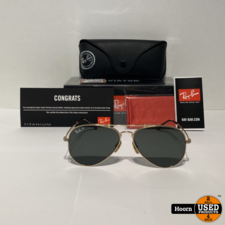 Ray-Ban Ray-Ban RB8125M 9143 Aviator Gold Plated Titanium Polarized Heren Zonnebril ZGAN Compleet in Doos