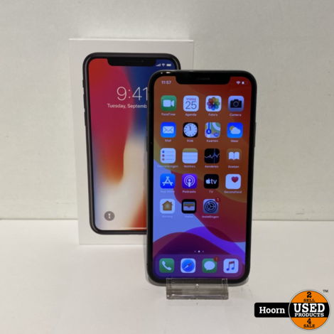 iPhone X 64GB Space Gray in Doos incl. Lader Accu: 85%
